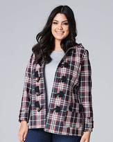 Fashion World Navy/Red Check Duffle Coat Length 28in