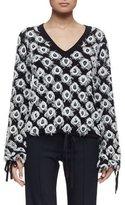 Chlo�� Long-Sleeve V-Neck Appliqué Pullover, Navy