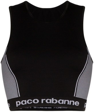Paco Rabanne logo-stamped seamless sports bra