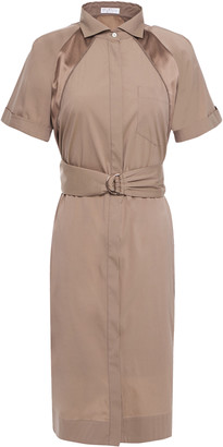 Brunello Cucinelli Belted Bead-embellished Satin-trimmed Cotton-blend Shirt Dress