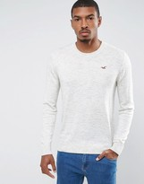 Hollister Falem Crew Neck Jumper Icon Logo Raglan In Beige