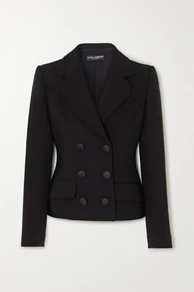 Dolce & Gabbana Double-breasted Wool-blend Crepe Blazer - Black