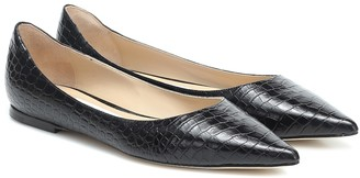 Jimmy Choo Love croc-effect leather ballet flats