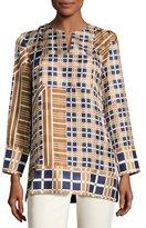Lafayette 148 New York Adeline Bracelet-Sleeve Plaid Silk Blouse, Multi