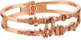 "Kenneth Cole New York Stone Cluster Rose Gold"" Rose Faceted Stone 2 Row Hinged Bangle Bracelet"
