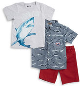 Nannette Boys 2-7 Boys Shark Tee, Sportshirt and Shorts Set