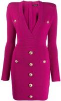 Balmain cinched waist pointelle-knit dress