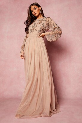 boohoo Bridesmaid Hand Embellished Long Sleeve Maxi Dress
