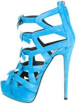 Giuseppe Zanotti Suede Cutout Platform Sandals