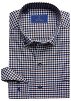 David Donahue Casual Fit Button Down Collar Long Sleeve Sport Shirt (Navy/Chocolate) Men's Dress