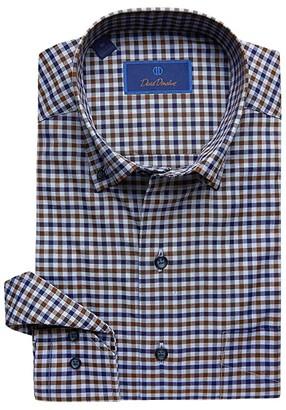 David Donahue Casual Fit Button Down Collar Long Sleeve Sport Shirt (Navy/Chocolate) Men's Dress