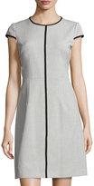 T Tahari Agatha Contrast-Piping Dress, Gray/Black