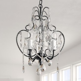 Three Posts Baby & Kids Flemington 4 - Light Candle Style Classic/Traditional Chandelier with Wrought Iron Accents Finish: Black