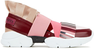 Emilio Pucci City Up Color-block Satin, Neoprene And Faux Leather Slip-on Sneakers