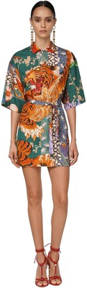 DSQUARED2 Tiger Drilled Cotton Mini Dress