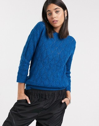 Kaffe textured 3/4 sleeve sweater in blue