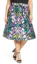 Melissa McCarthy Plus Size Women's Floral Taffeta Paperbag Skirt