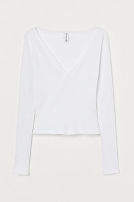 H&M Ribbed Jersey Top - White