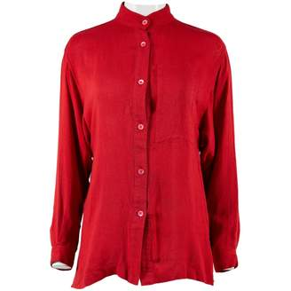 Issey Miyake Red Linen Tops