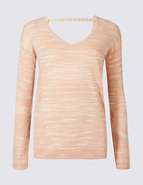 M&S Collection Textured Space Dye V-Neck Jumper