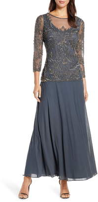 Pisarro Nights Mock Two-Piece Beaded Bodice Gown