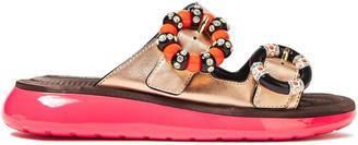 Marc Jacobs Buckle-embellished Metallic Leather Slides