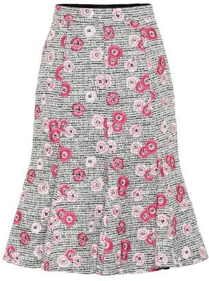 Giambattista Valli Floral-embroidered tweed skirt