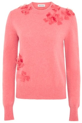 Molly Goddard Luca Floral-applique Lambswool Sweater - Pink