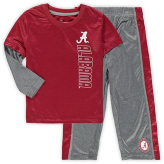 Colosseum Toddler Crimson/Heathered Gray Alabama Crimson Tide Bayharts Long Sleeve T-Shirt and Pants Set