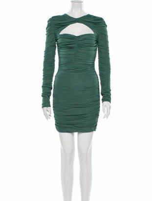Herve Leger Crew Neck Mini Dress Green