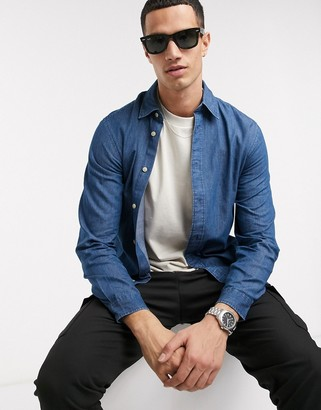 Selected organic cotton slim fit chambray shirt in light blue
