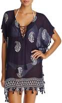 Surf Gypsy Tassel Paisley Floral-Print Tunic Swim Cover-Up