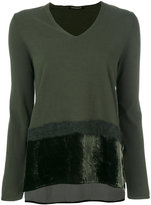 Luisa Cerano - faux fur trim detail knit top - women - Polyester/Viscose - 38