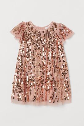 H&M Empire-line Sequined Dress - Orange