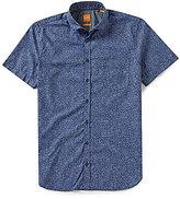 HUGO BOSS BOSS Orange Botanical Print Short-Sleeve Woven Shirt
