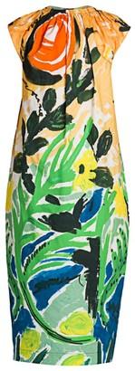 Marni Ruched Cap-Sleeve Floral Midi Dress