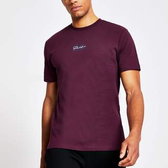 River Island Mens Prolific Purple slim fit embroidered T-shirt