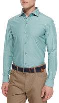 Ermenegildo Zegna Solid Chambray Sport Shirt, Green