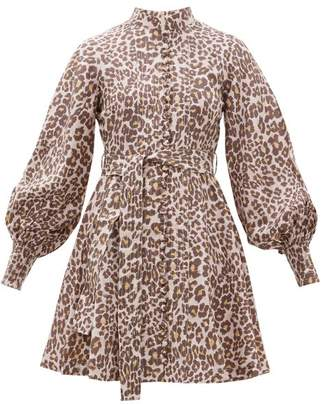 Zimmermann Sabotage Leopard Print Silk Mini Dress - Womens - Leopard
