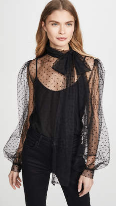 Costarellos Bishop Sleeve Embroidered Dot Tulle Blouse