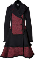 McQ Wool Blend Fringed Coat in Red/Black