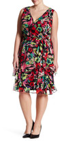 Tahari Floral Faux Wrap Dress (Plus Size)