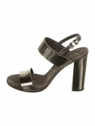 Brunello Cucinelli Patent Leather Slingback Sandals Grey
