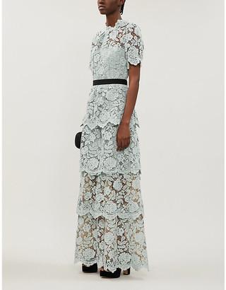 Self-Portrait Self Portrait Tiered floral-lace maxi dress