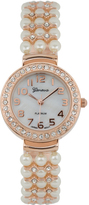 Geneva Platinum Rose Gold Faux Pearl Crystal-Accent Bracelet Watch