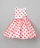 White & Red Polka Dot A-Line Dress - Girls