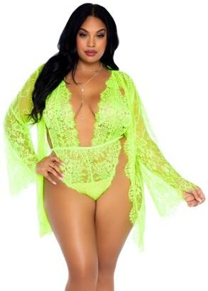 Leg Avenue Women's Plus Size 3 PC Lace Teddy and Robe Set