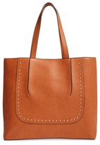 Sole Society Adelaine Studded Faux Leather Tote - Brown