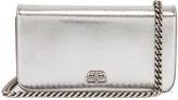 Balenciaga BB Phone Holder Chain Bag in Silver | FWRD