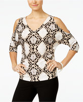 INC International Concepts Printed Cold-Shoulder Blouse, Only at Macy's